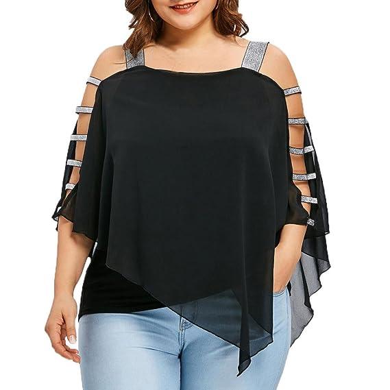 OHQ Moda de Mujer Sexy Talla Grande Escala Corte Overlay Asimétrica Blusa Sin Tirantes Tops,