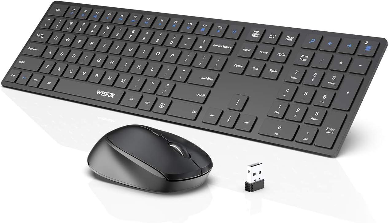 Wireless Keyboard and Mouse Combo, WisFox 2.4G Full-Size Slim Thin Wireless Keyboard Mouse for Windows, Computer, Desktop, PC, Laptop Mac (Dark Black)