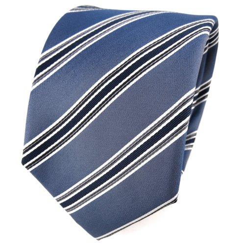 TigerTie cravate en soie gris bleu gris anthracite argent rayé - cravate en soie