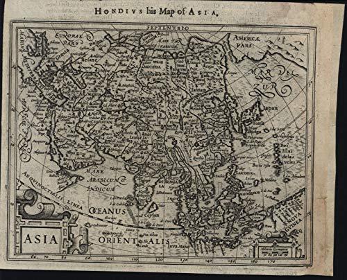 (China Arabia Korea as island Alaska India Japan 1626 Purchas Hondius scarce map)