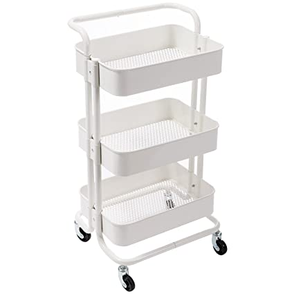 Incroyable DOEWORKS Storage Cart 3 Tier Metal Utility Cart Rolling Organizer Cart With  Wheels Art Cart White