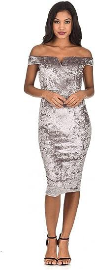 Women's Velvet Off The Shoulder Bardot Dress
