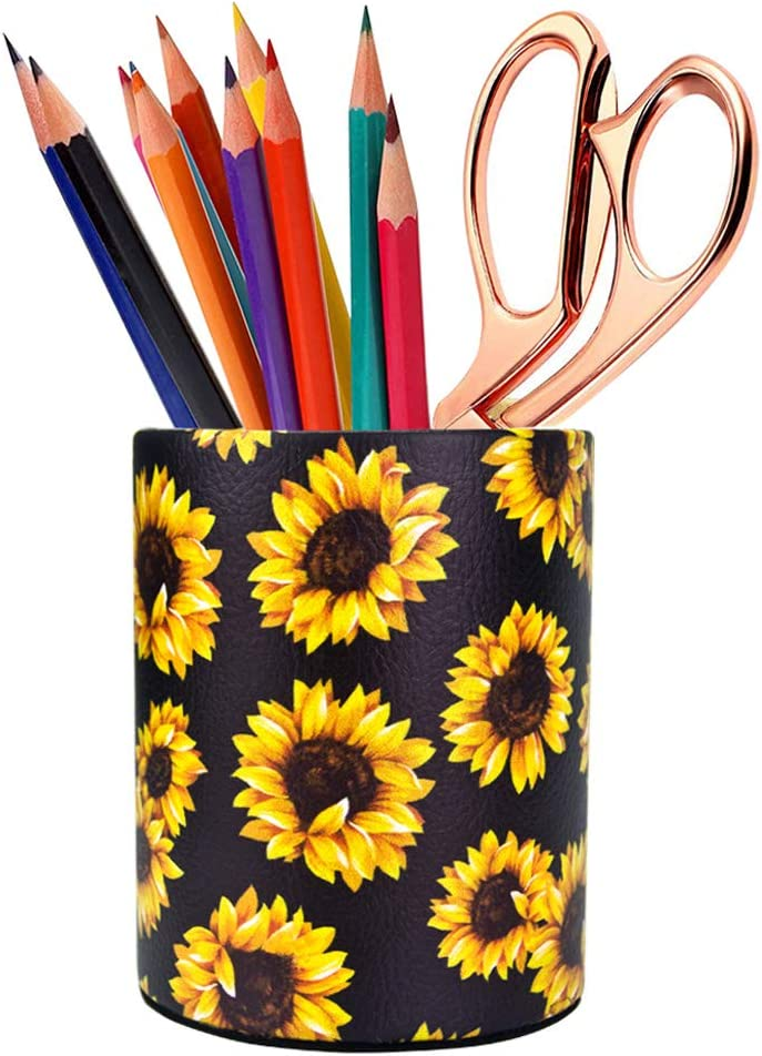 HEYGOO Sunflower Pen Holder, Pencil Holder Desk Organizer for Women Girls, Floral Makeup Brush Holder, Ideal Gift for Office, Classroom, Home(blackSunflower)