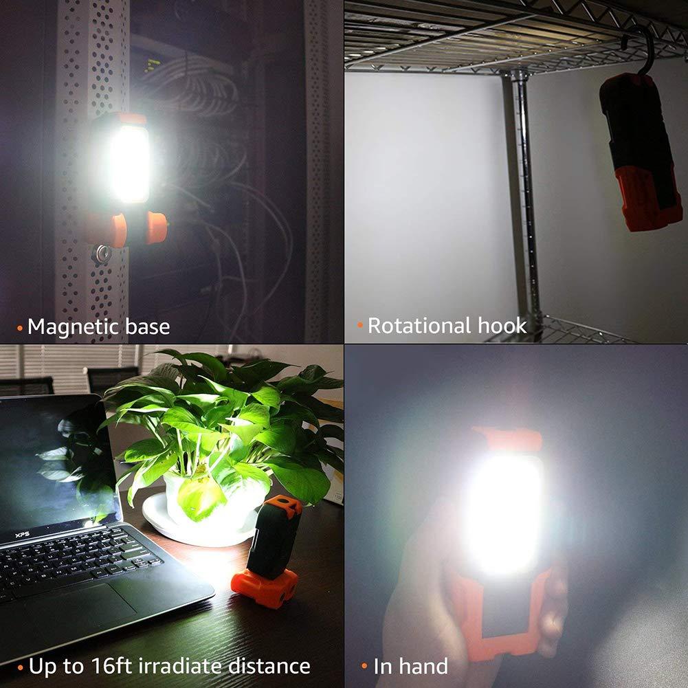 WINBST COB-LED Arbeits Leuchte robuste Werkstatt-Lampe mit Magnet-Fu/ß Haken zum Aufh/ängen Taschenlampen-Funktion Tragbare LED Arbeitsleuchte