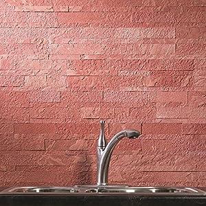 Amazoncom Aspect Peel and Stick Stone Overlay Kitchen Backsplash