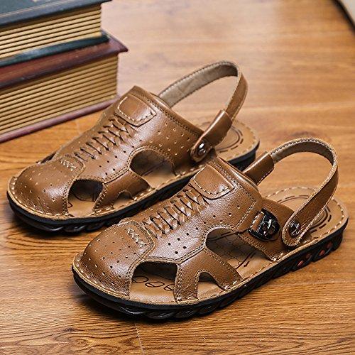Gomnear Mannen Gesloten Teen Lederen Sandalen Mode Visser Sandaal Zomer Slipper Schoenen Kaki