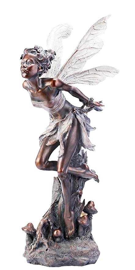 Delicieux Napco Bronze Kissing Fairy Garden Statue, 34 Inch Tall