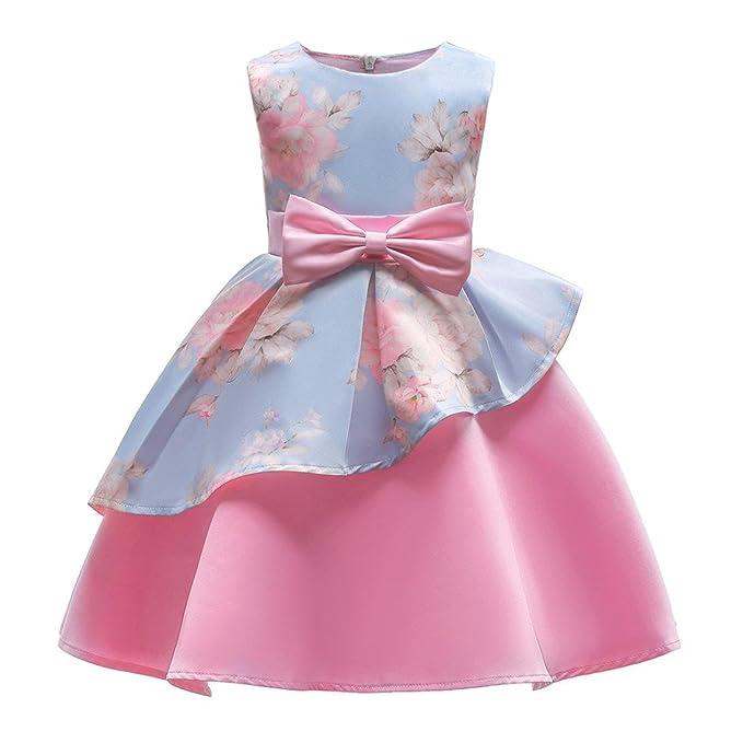 Vestido Fiesta Niña Sin Mangas del Arco Faldas Vestido de Tul Vestidos Boda Vestido de Princesa Flores Bebe Vestido Cumpleaños 3 años-8 años ❤️️Lonshell: ...