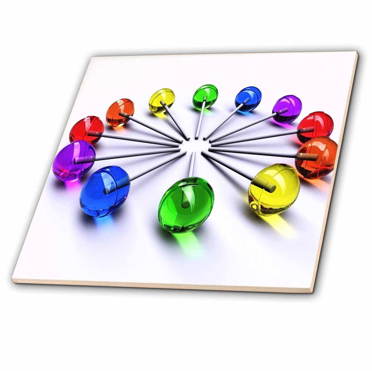 4-Inch 3dRose ct/_53271/_5 Lollipop Clock Glass Tile