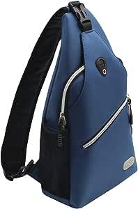 Mosiso Sling Backpack, Polyester Water Repellent Durable Chest Shoulder Unbalance Gym Fanny Lightweight Crossbody Sack Satchel Outdoor Hiking Bag for Men Women Girls Boys Travel Daypack, Light Teal