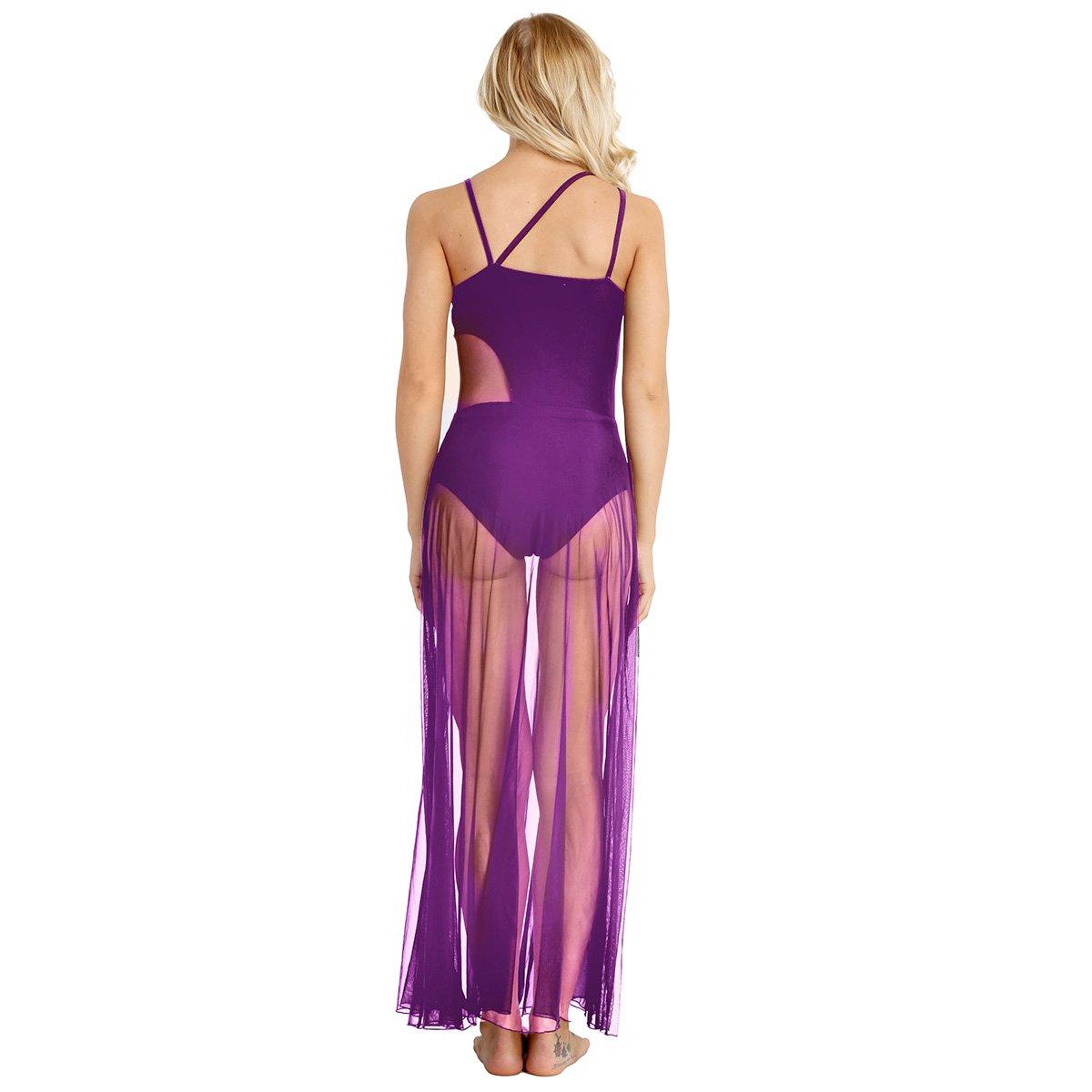 Alvivi Femme Robe Danse Latine Maille Transparent Robe de Danse Classique Moderne Rumba Zumba Salsa Valse Jazz Tango Gymnastique Robe Performance Dancewear XS-XL