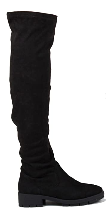 New Womens Over The Knee Low Heel Thigh High Ladies Flat Biker Stretch Boots 3-8