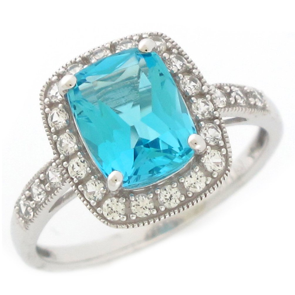 14k White Gold Jaw-dropping Real Swiss Blue Topaz and White Sapphire Ladies Ring