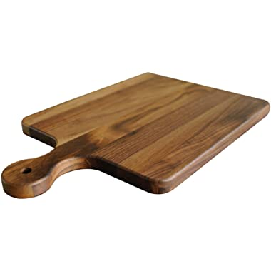 Walnut Wood Cutting Board with Handle by Virginia Boys Kitchens - 10x16 American Hardwood Chopping and Serving Rustic Paddle for Bread Cheese Charcuterie and Pizza