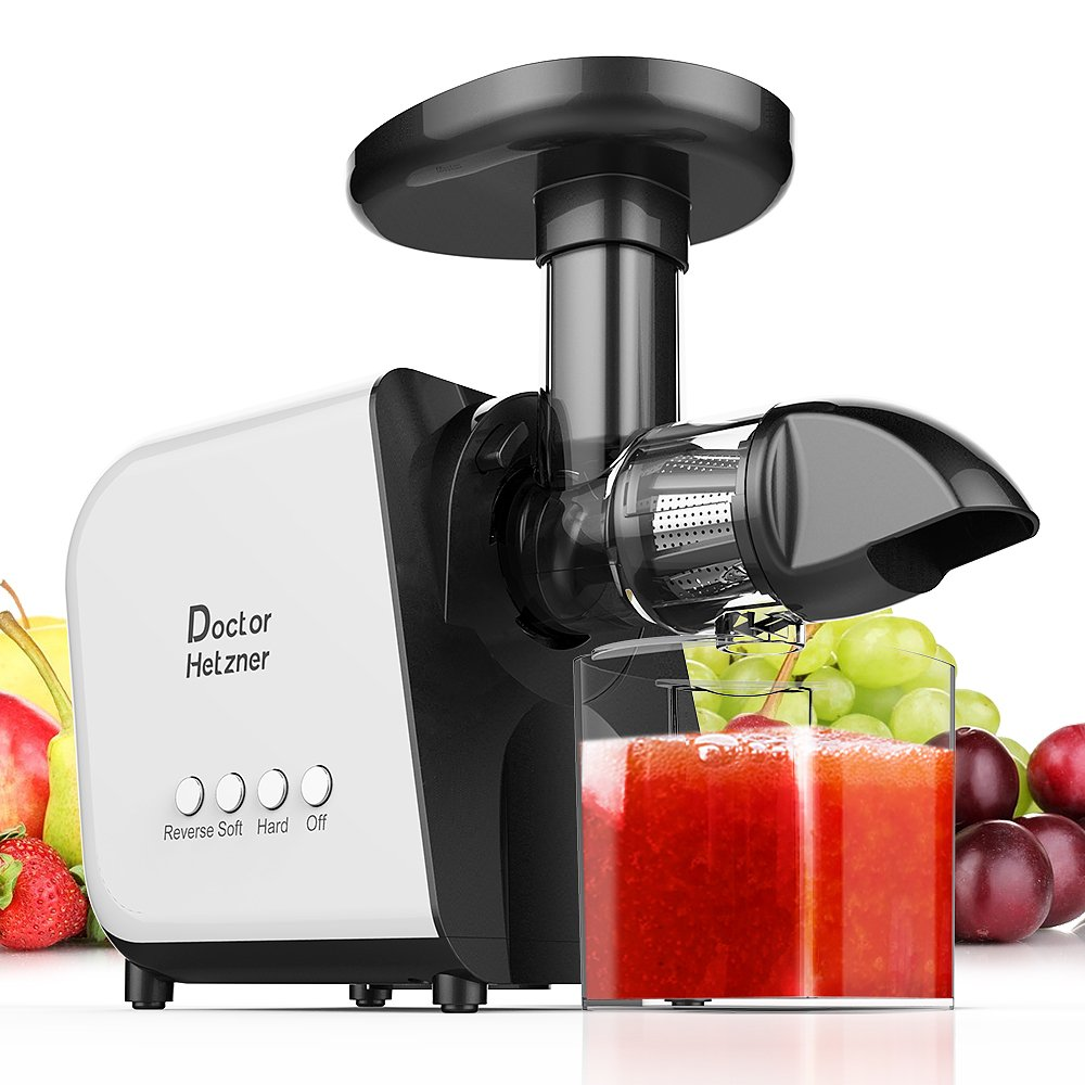Doctor Hetzner Juicer, Slow Masticating Juicer Extractor with Reverse Function, Cold Press Juicer Machine with Quiet Motor, Juice Jug and Brush for High Nutrient Fruit and Vegetable Juice