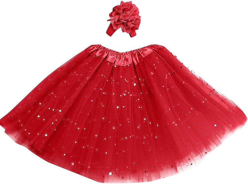 Longra Ragazza Tutu Gonna per Bambini Stampa Stellare Gonna in Chiffon con Fascia Bambini Abiti Principessa Multilayer Maglia Costume Carnevale 8 Colori 3-8T