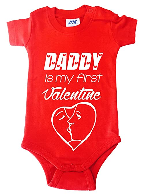 Body Pelele Body niño bebé Daddy is my first Valentine San Valentín 3 meses rojo