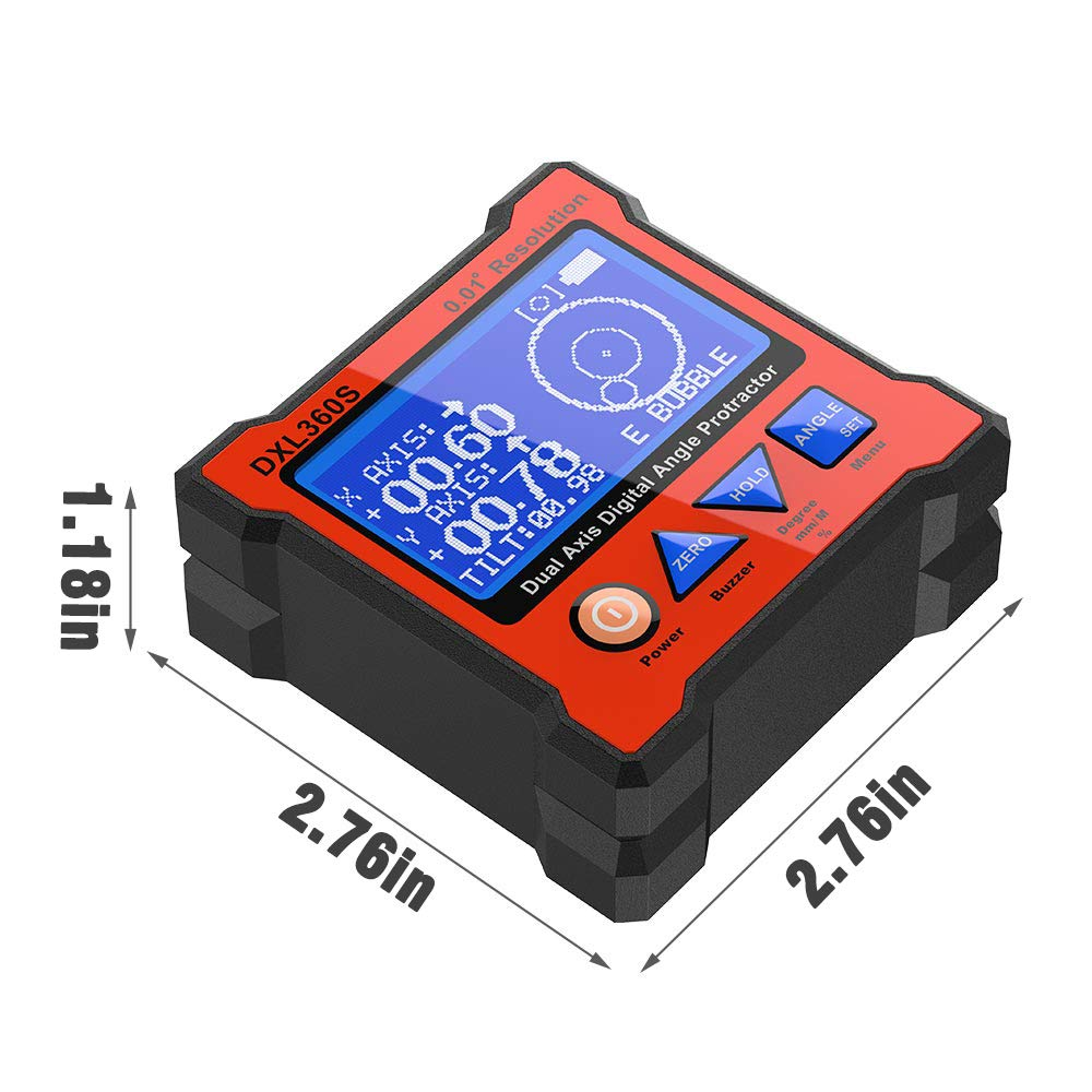 GRAVITY 2 in 1 Digital Protractor Inclinometer Dual Axis Level Box DXL360S GYRO
