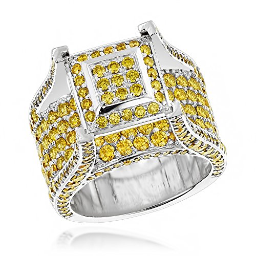Luxurman 14K Gold Unique Rings Yellow Natural 6 Ctw Diamond Mens Ring (White Gold Size 9.5)