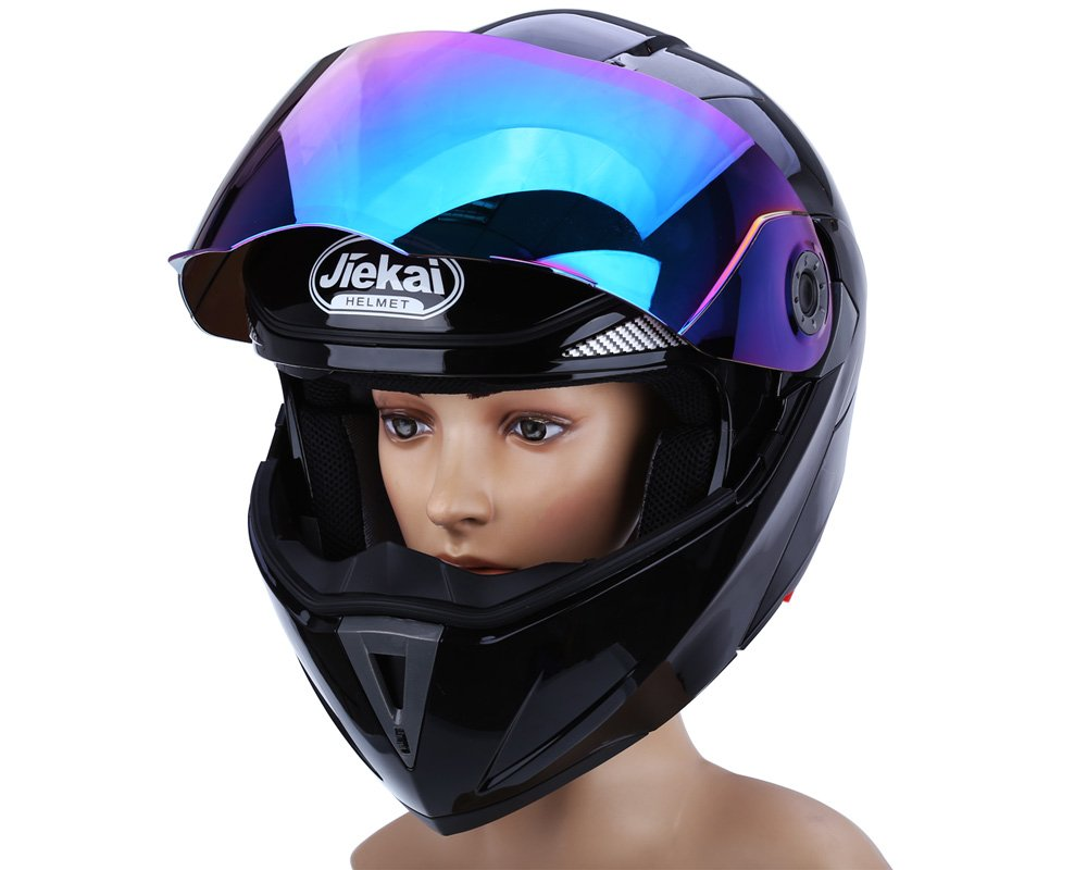 Amazon.com: Full Face Motorcycle Helmet Dual Visor Street Bike with Colorful Shield(WHITE-M): Automotive