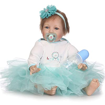 Spencertoys 22inch Realistic Reborn Baby Doll Silicone Vinyl Body Handmade Realistic Lifelike Lovely Girl Bady: Toys & Games