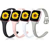 Wepro Compatible with Fitbit Versa 2 Bands/Fitbit Versa Bands, 4 Pack Slim Narrow Bands Compatible with Fitbit Versa Lite SE