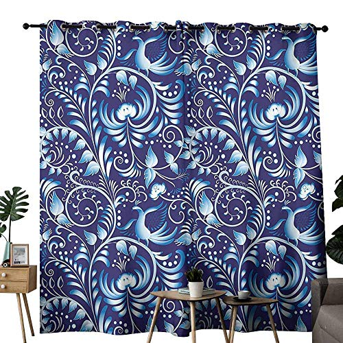 duommhome Navy Blackout Curtain Folk Chinese Asian Design Inspired Floral Swirls Classic Ethnic Ombre Image Suitable for Living Room Bedroom W72 xL72 Royal and Sky Blue