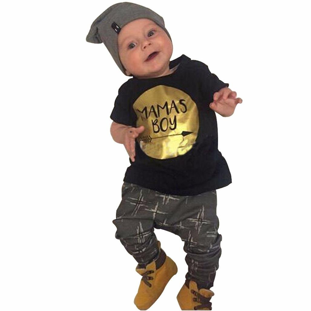 Bekleidung Longra Neugeborenes Kinder Baby Jungen Kurzarm T-shirt Tops + Hosen Outfits Sommer Kinderkleidung Set (0-3Jahre)