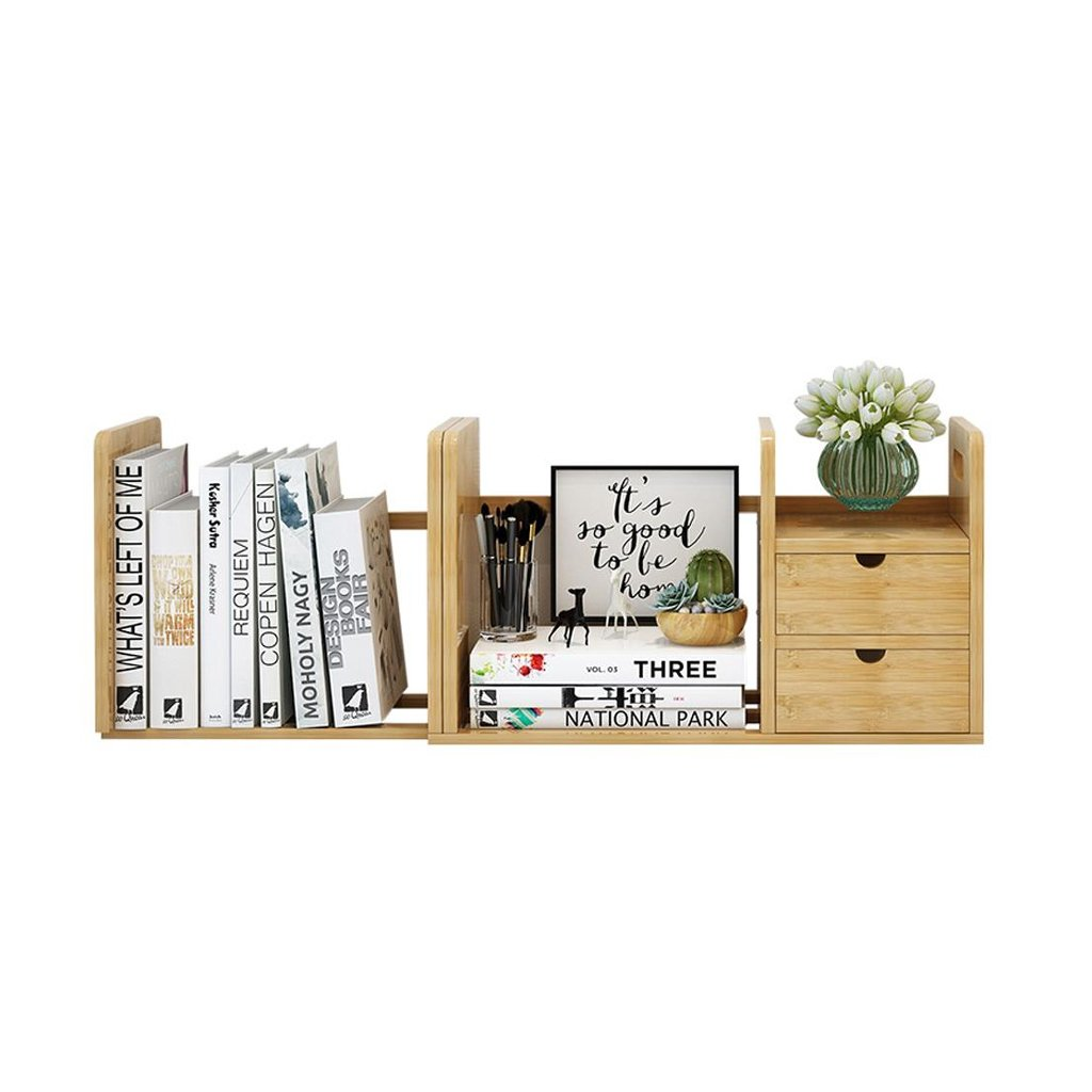 自然な竹デスクオーガナイザー本棚2つの引き出しとオフィスとホーム、拡張可能かつ調整可能 - L80-51 * W19cm * H23cm   B07GSQBK1Y