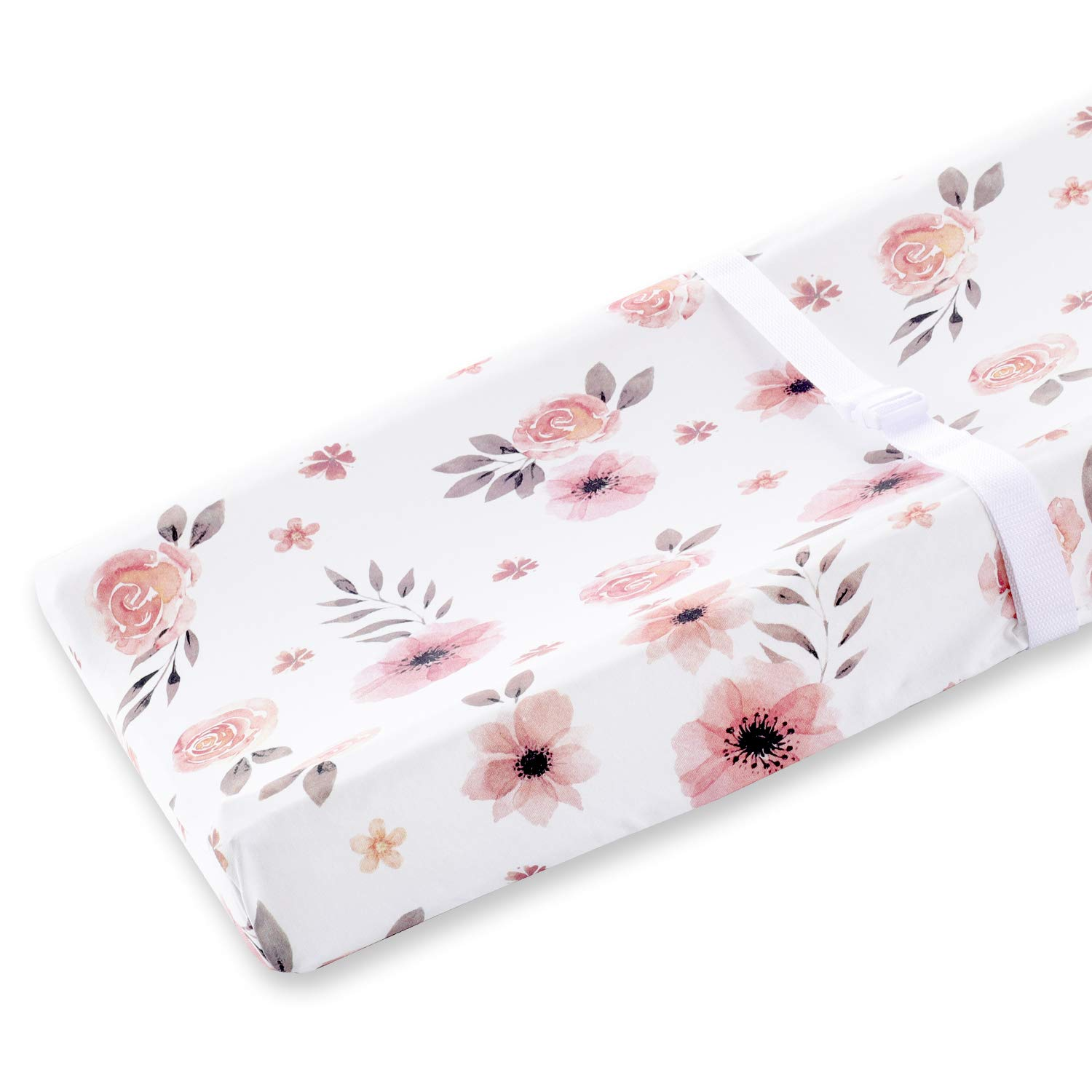 Countryside Floral Pink Grey and White Super Soft Changing Pad Cover