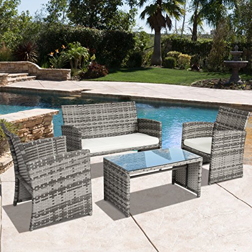 Best Choice Products Outdoor Patio Furniture Cushioned 4 Piece Wicker Sofa Coversation Set- Gray