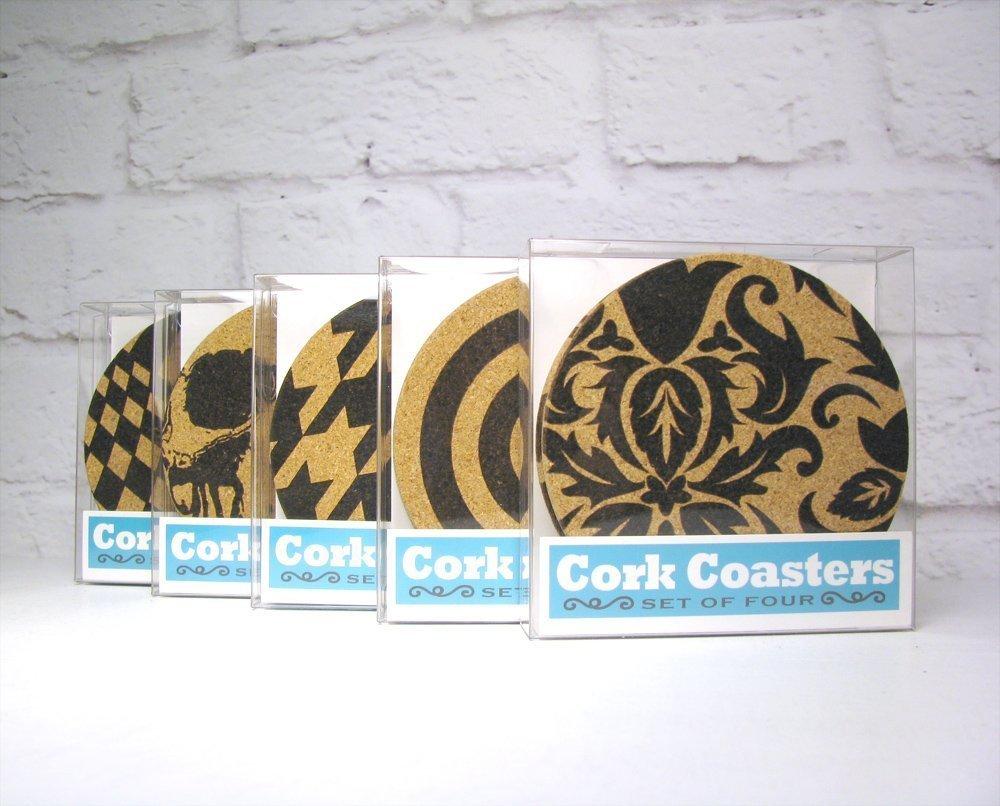 Hollywood Regency Pattern Modern Cork Coaster Set