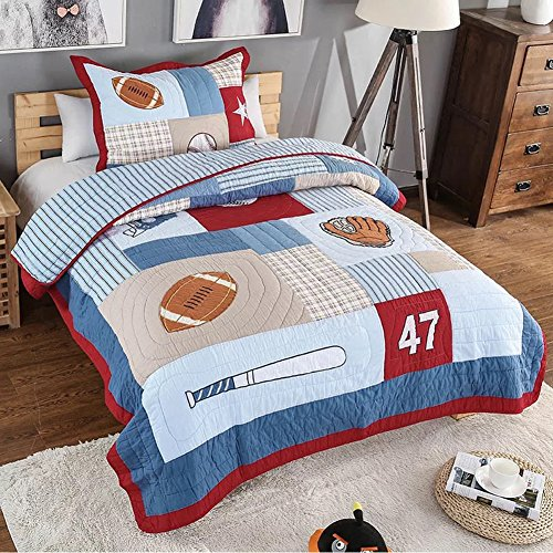 NEWLAKE Kids Quilt Bedspread Set, 2 Pieces of Comforter Sets, Baseball Pattern, Twin Size