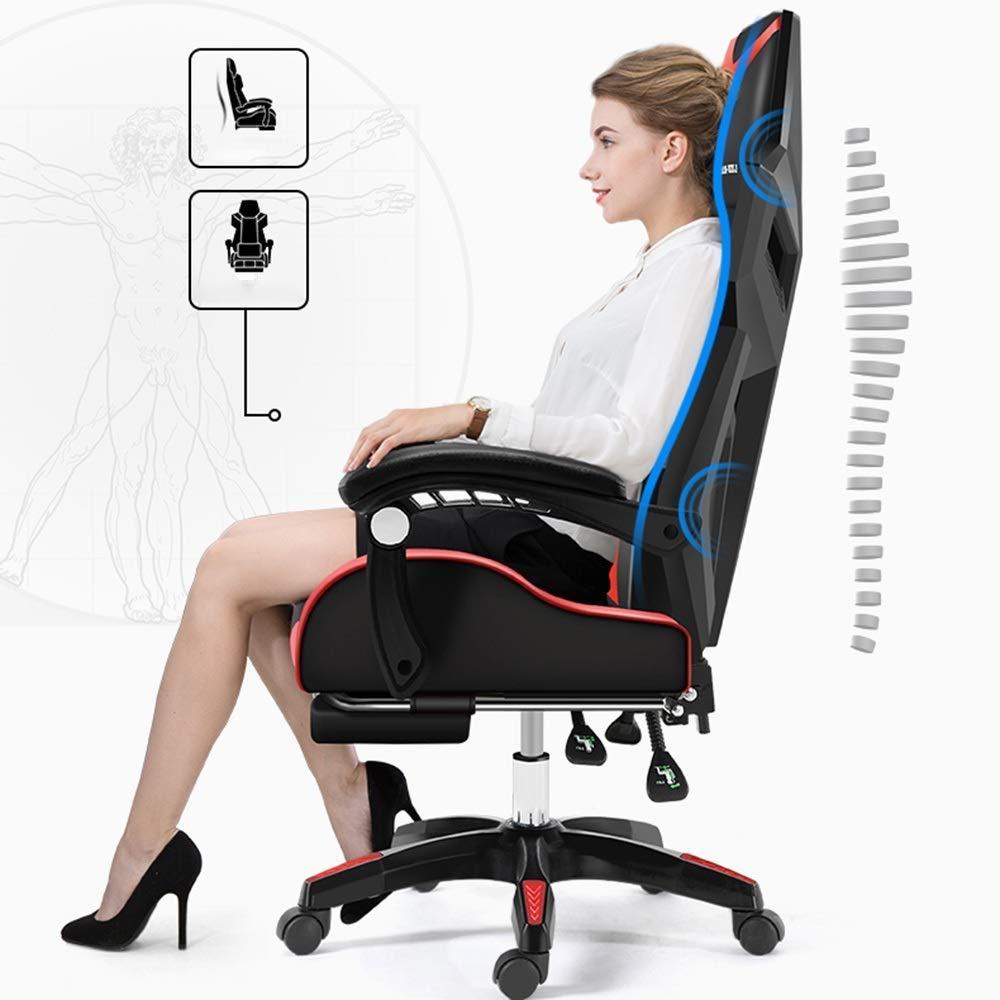 JIEER-C stol svängbar stol TV-spelstol, upphöjd roterande länkarmstöd hög rygg spelstol vilande kontorsstol ergonomi datorstol massagekudde, svart röd blå vit