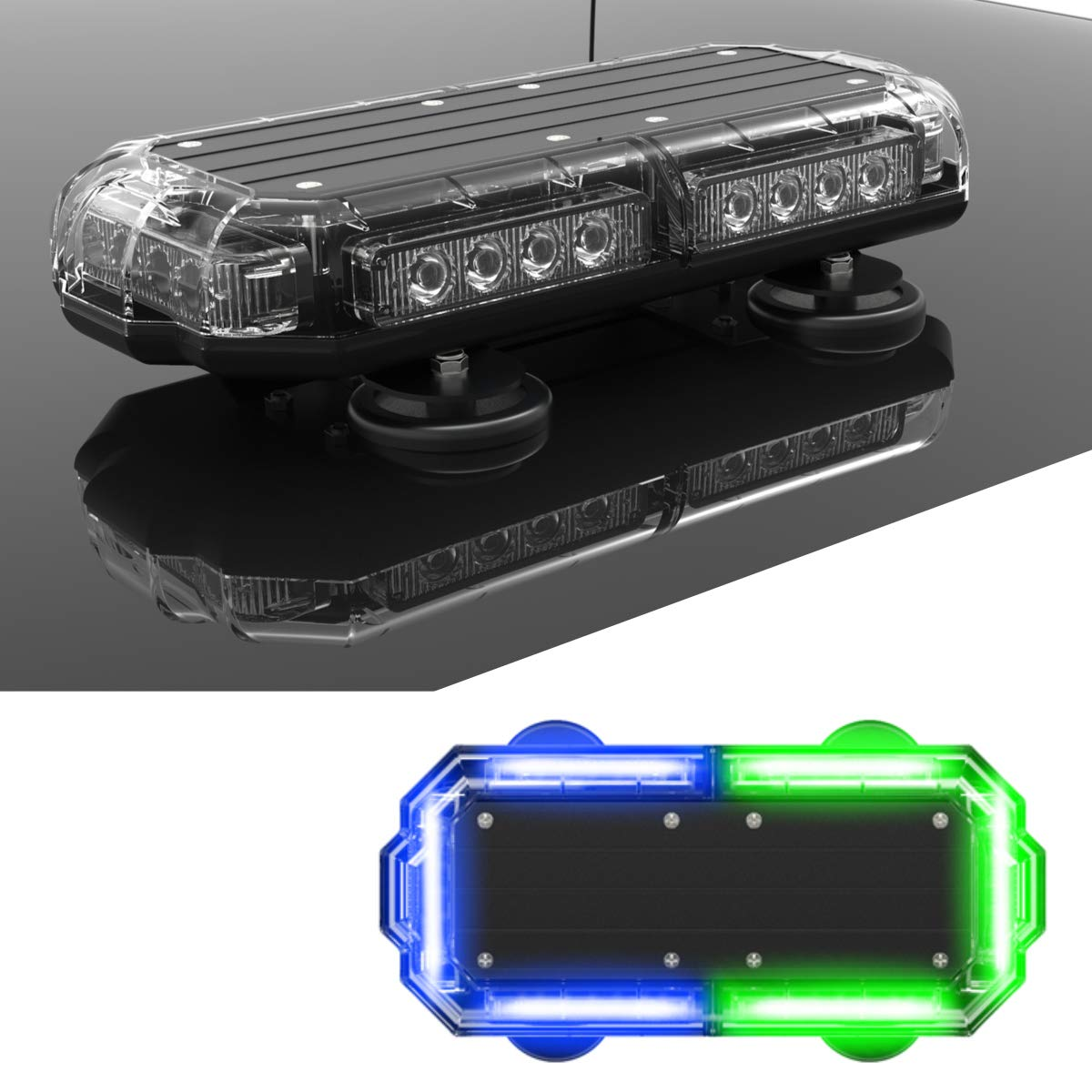 Cars and Emergency Vehicles with Magnetic Roof Mount in Alternating Red//Blue SpeedTech Lights Mini 14 72 Watts LED Strobe Lights for Trucks Plows