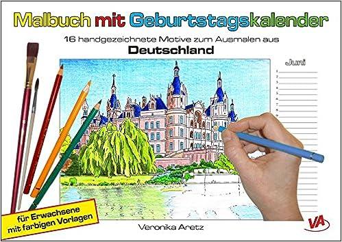 Malbuch Mit Geburtstagskalender Aus Deutschland 16 Handgezeichnete