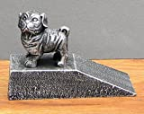 Cast Iron Dog Pug Bulldog Wrinkly Doorstop Silver