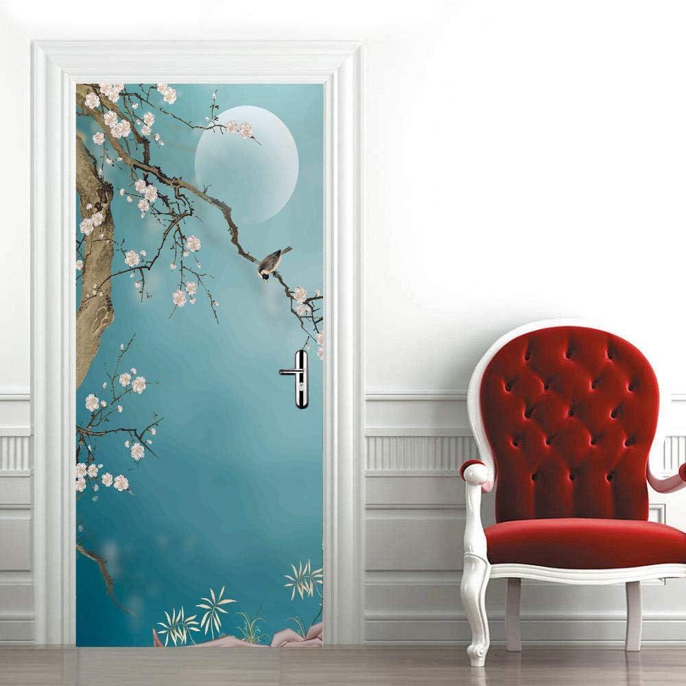 3D Mural para Puerta 95X215Cm Autoadhesivo Impermeable Papel Pintado Puerta para Sala de Estar Baño Cocina Extraíble Vinilo Adhesivo de Pared,Decoración del Hogar - Flor de Ciruelo y Luna