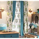 """IYUEGOU Country Rustic Print Cotton Multi Floral Energy Saving Grommet Top Curtain Draps 72"""" W x 102"""" L (One Panel)"""
