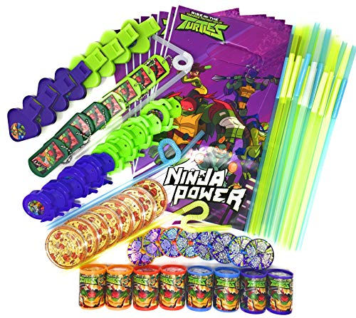 Teenage Mutant Ninja Turtles Party Favors TMNT Goodie Bag Fillers Treat Bags Bundle with Cool Change Fun Flex Color Changing Straws -