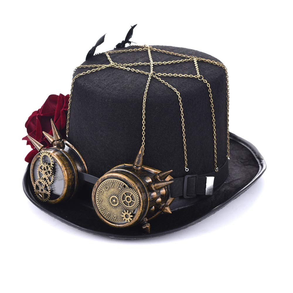 Black JDDR Hat, New Steampunk Top Hat Role Playing Hat Retro Female Steampunk pink Top Hat With Goggles