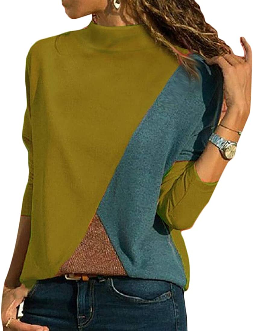 M/&S/&W Womens Tops T-Shirt Contrast Color Mock Collar Long Sleeve Blouse