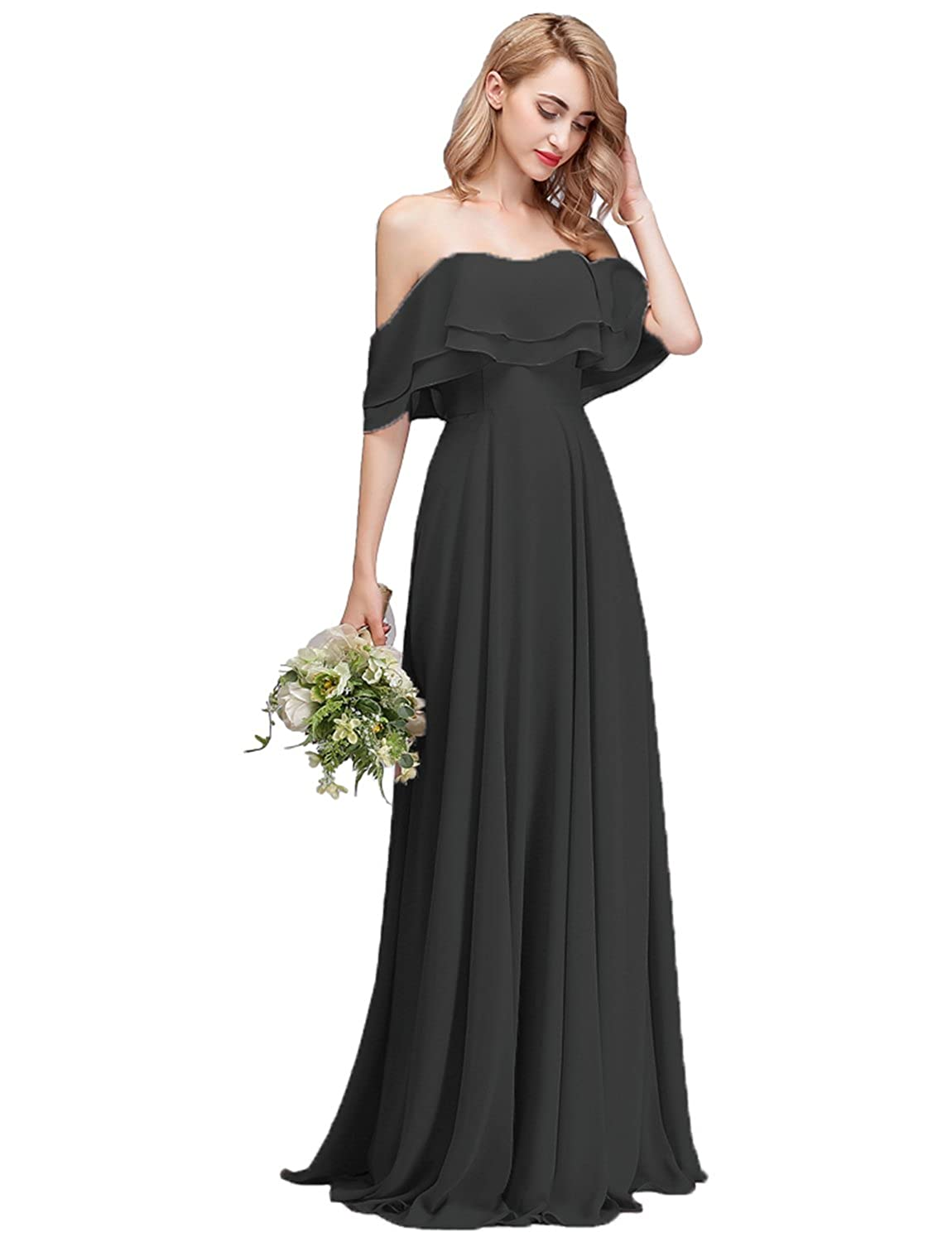871456bc CLOTHKNOW Strapless Chiffon Bridesmaid Dresses Long with Shoulder Ruffles  for Women Girls to Wedding Party Gowns at Amazon Women's Clothing store: