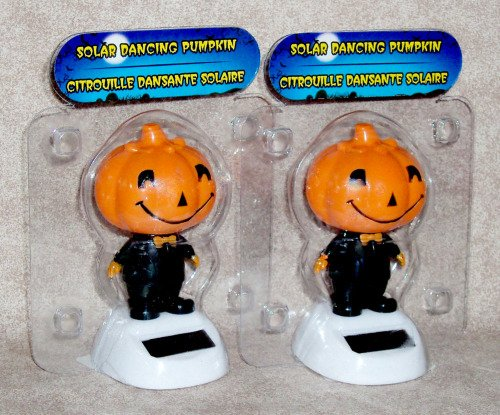 Solar Powered Dancing Jack-O-Lantern Pumpkins – 2 Pack (in Bubble Packages)