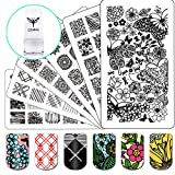 Ejiubas Nail Stamping Kits 3Pcs Nail Plates Stamping Set + 1 Nail Stamper Scraper For Image Nail Art Kit EJB-01&06&08