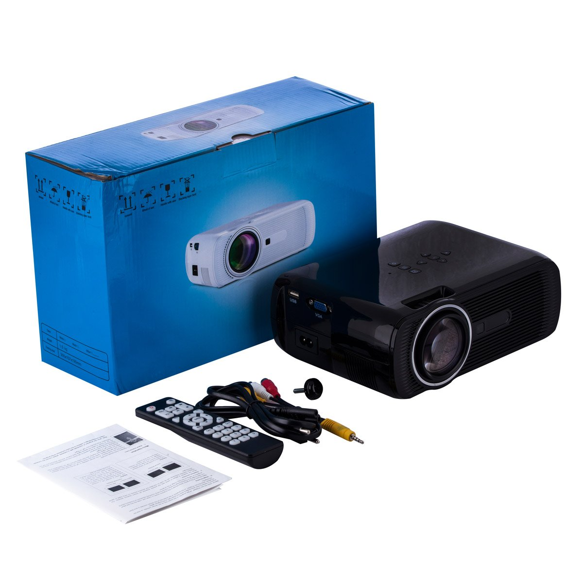 UHAPPY U80 Mini LED HD projector Portable projector (EN) - Black by U Happy (Image #5)