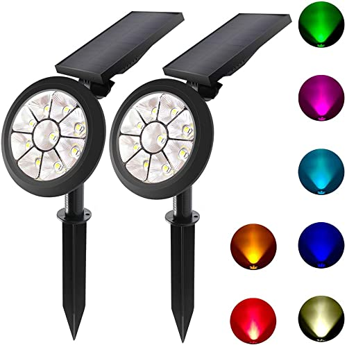 Lepord 2 Sets 9 LED Solar Spotlights Outdoor Solar Lights Waterproof Color Spot Lights for Garden Landscape Spotlights Dark Sensing Auto On Off Solar Up Lights for Yard Patio Lawn