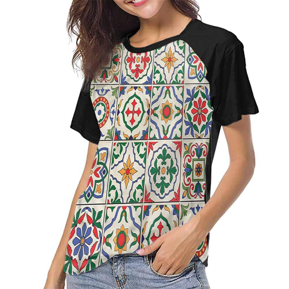 Female Tops,Moroccan,Colorful Floral Design S-XXL Womens Short Sleeve Tops