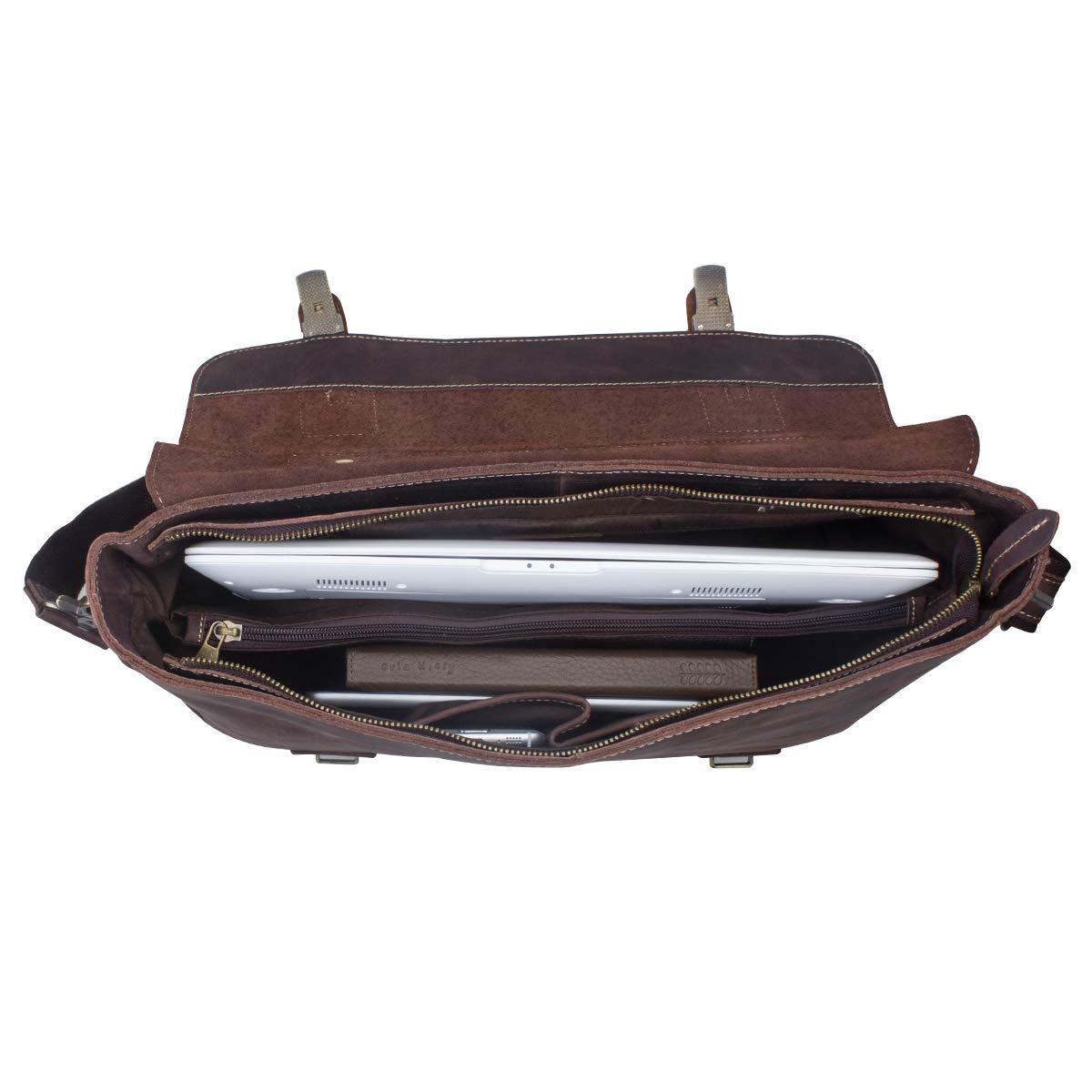 S-ZONE Men's Crazy Horse Leather Satchel Briefcase Shoulder Bag Messenger Bag 14'' Laptop Tote Bag by S-ZONE (Image #4)