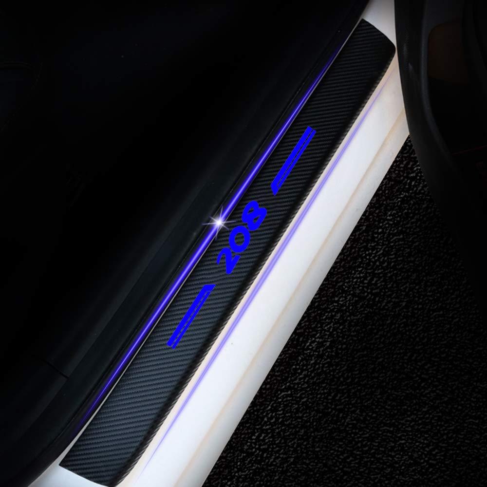 8X-SPEED pour 208 4D Seuil de Porte Voiture Fibre de Carbone R/éfl/échissant Autocollant,Protection Seuil P/édale Prot/éger Car Styling 4 Pi/èce Bleu